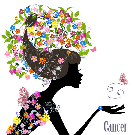 fortune flower: Zodiac sign cancer. fashion girl