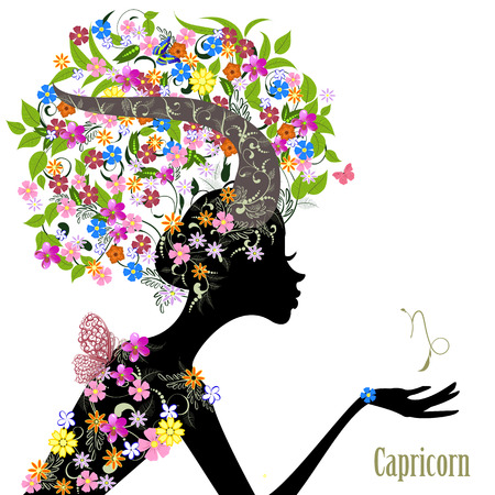 Zodiac sign capricorn. fashion girl Vector