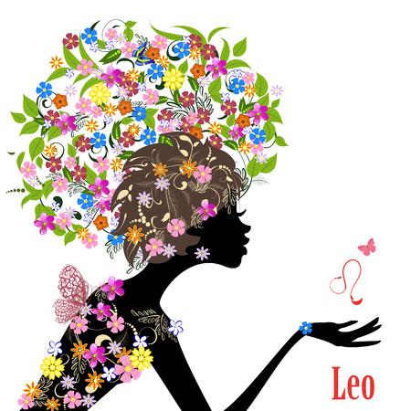 Leo signo del zodiaco. chica de moda