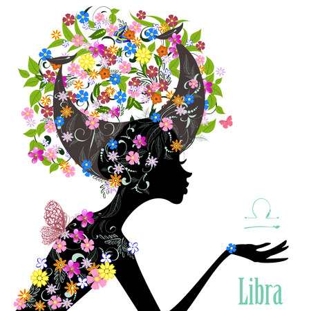 Zodiac sign libra. fashion girl Çizim