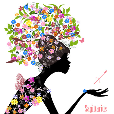 sagittarius: Zodiac sign sagittarius. fashion girl Illustration
