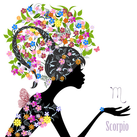 Zodiac sign scorpio. fashion girl Çizim