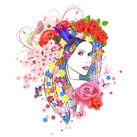 enchantress: beautiful fashion young woman with flowers in hair. portrait of a enchantress Illustration