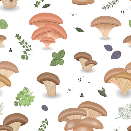 Seamless texture with Edible mushroom oysters and herbs Illustration