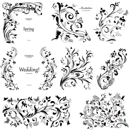 collection of floral a vintage elements with butterfly and bird for you design Vector