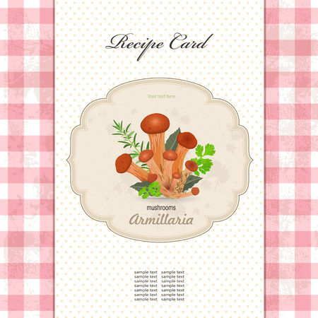 recipe card: mushrooms armillaria with herbs for your design Illustration