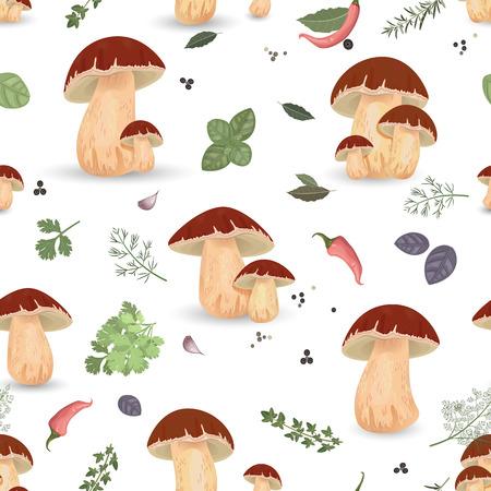 allspice: Seamless texture with edible mushroom