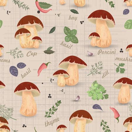 Seamless texture with edible mushroom Vector