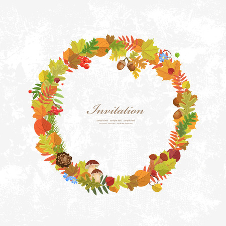 oak wreath: Wreath of autumn leaves for you design Illustration