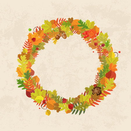 ash: Wreath of autumn leaves for you design Illustration