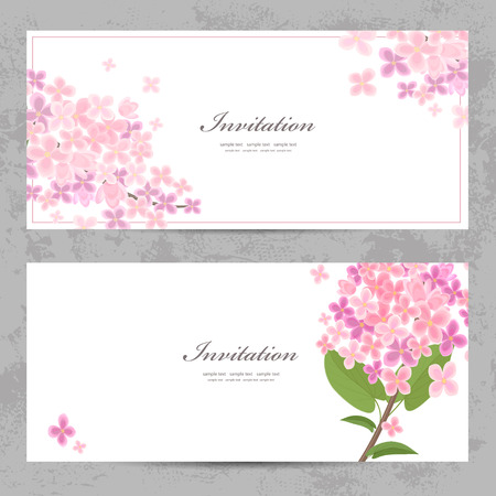 invitation cards with beautiful flowers  Ilustração