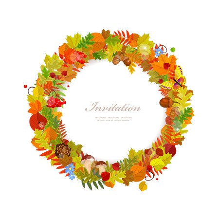 acorn: Wreath of autumn leaves Illustration