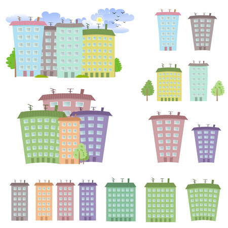 multistory: Collection of cartoon buildings
