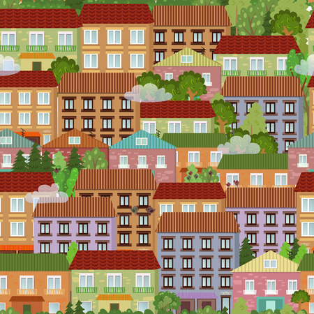 seamless texture with cute houses Vector