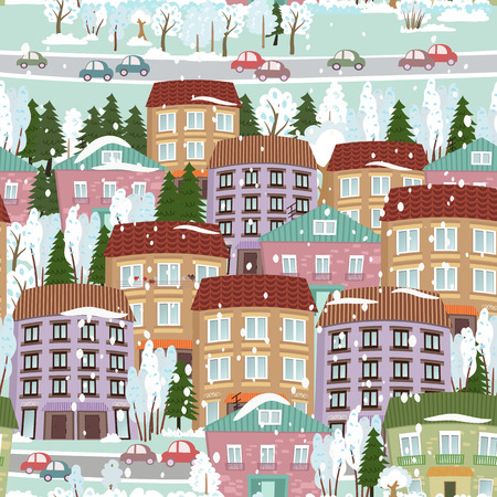seamless texture with a winter cute houses Vector