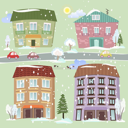 Collection of cute houses Vector