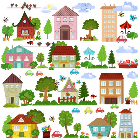 Collection a cartoon houses and trees Illustration