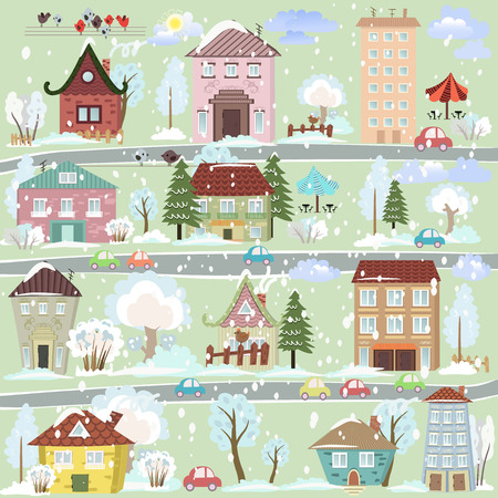 winter landscape with cartoon houses and trees Vector