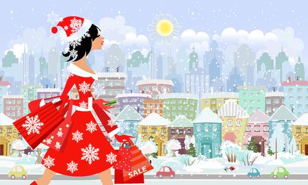 mode meisje santa met de aankoop in een stad. naadloze panorama