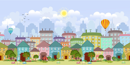 seamless border with a cityscape. panorama Vector