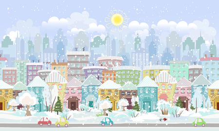 panorama. seamless border with a winter cityscape Vector