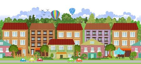 suburban neighborhood: seamless border with a cityscape