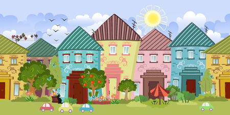 seamless border with cute houses and trees for you design Vector