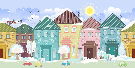 seamless border with cute houses and trees. winter Vector
