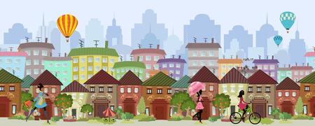 naadloze grens met een stadsgezicht. panorama Stock Illustratie