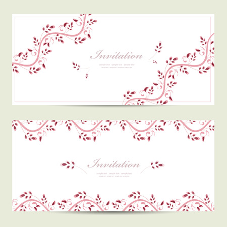 romantic floral invitation cards  Vector