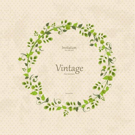Einladungskarte mit Blumenkranz Standard-Bild - 31948190