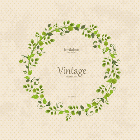 invitation card with floral wreath   Vectores