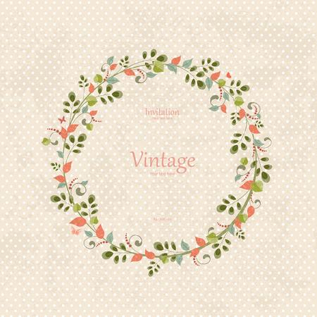 invitation card with floral wreath   向量圖像