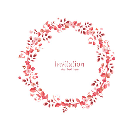 invitation card with floral wreath   Çizim