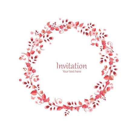 marcos redondos: tarjeta de invitaci�n con la corona de flores