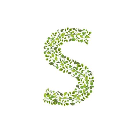 letter s: Spring green leaves. eco letter S