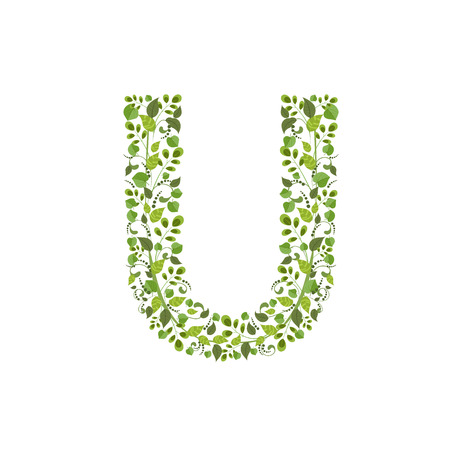Spring green leaves. eco letter U Vector