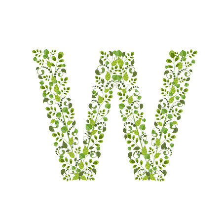 Spring green leaves. eco letter W Vector