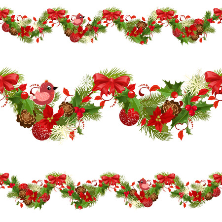 christmas set seamless borders for your design Illustration
