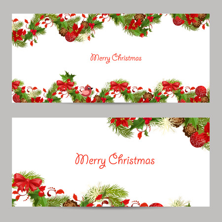 pine decoration: christmas set invitation cards for your design