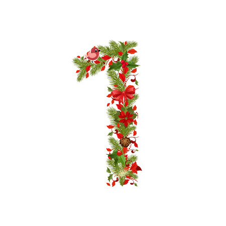 christmas floral tree number 1 Vector