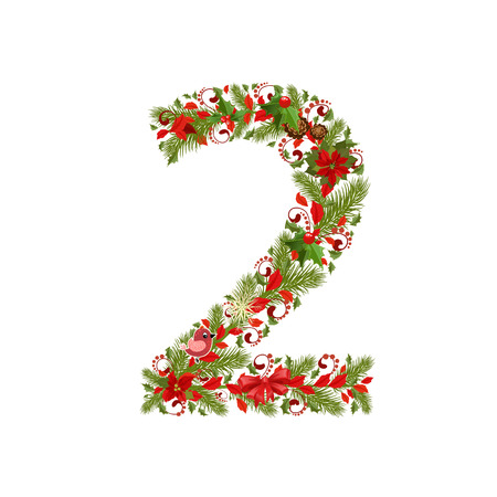 christmas floral tree number 2 Vector