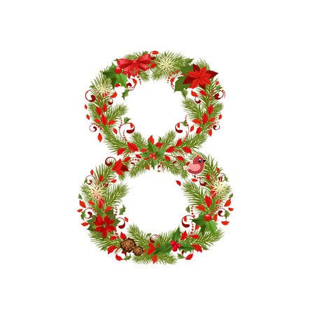 number eight: christmas floral tree number 8