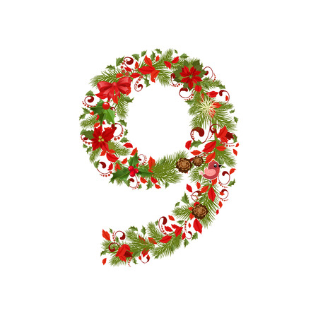 christmas floral tree number 9 Vector