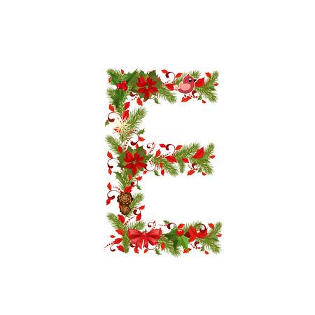 e new: christmas floral tree letter E
