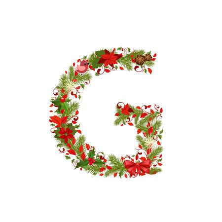 g alphabet: christmas floral tree letter G