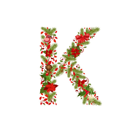 christmas floral tree letter K Vector