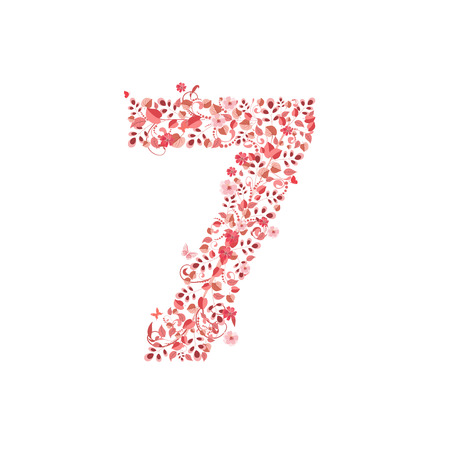 Romantic floral number 7 Vector