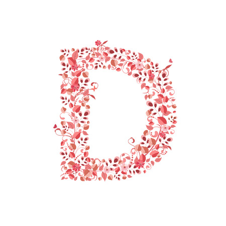 letter d: Romantic floral letter D