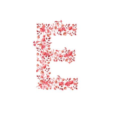 e alphabet: Romantic floral letter E